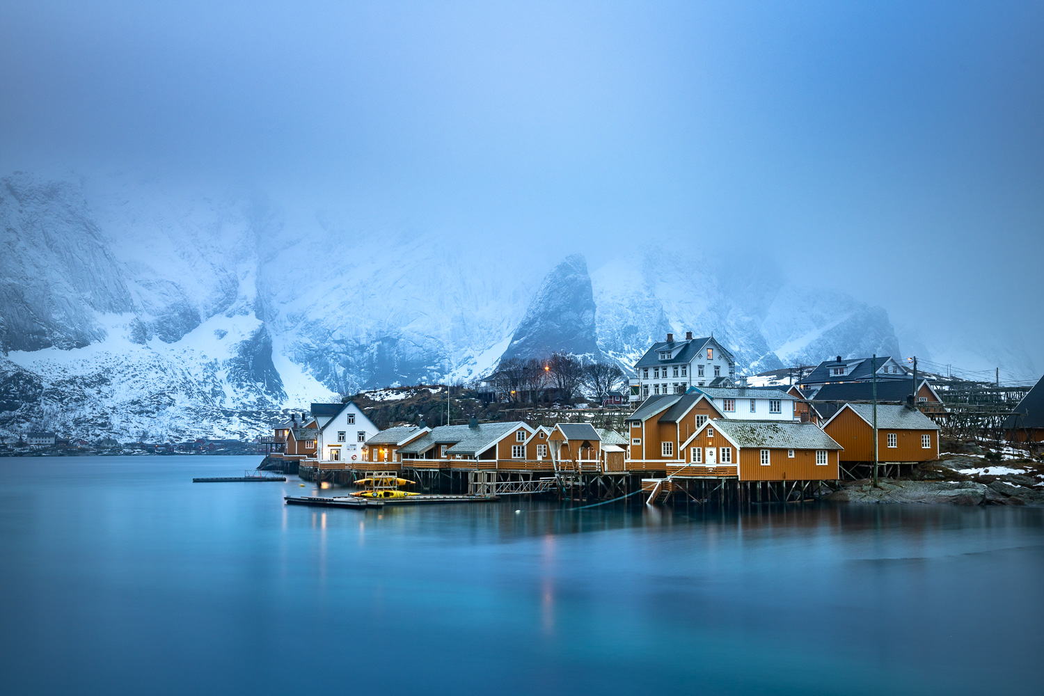 Fischerhütten von Sakrisoy, Lofoten, Norwegen